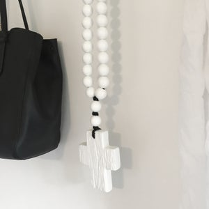 Image of N E W !  Reclaimed Love Bead - White on White with black string