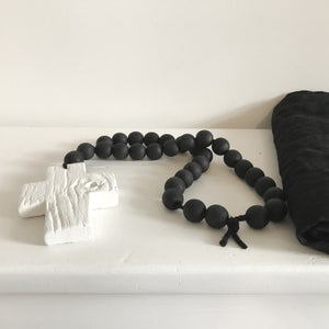 Image of N E W !  Reclaimed Love Bead - White on Black