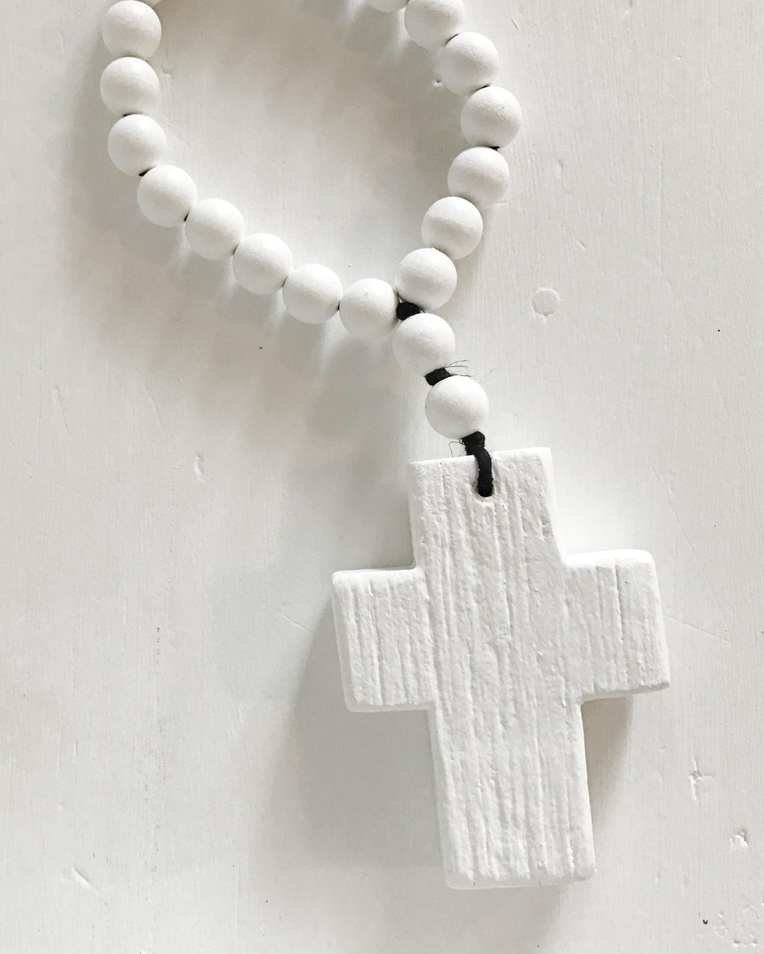 Image of N E W !  RECLAIMED MINI LOVE BEADS - WHITE ON WHITE, BLACK STRING