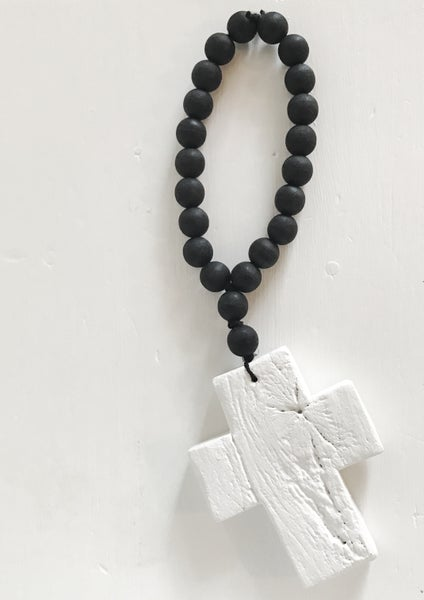 Image of N E W !  RECLAIMED MINI Love Beads - White on Black