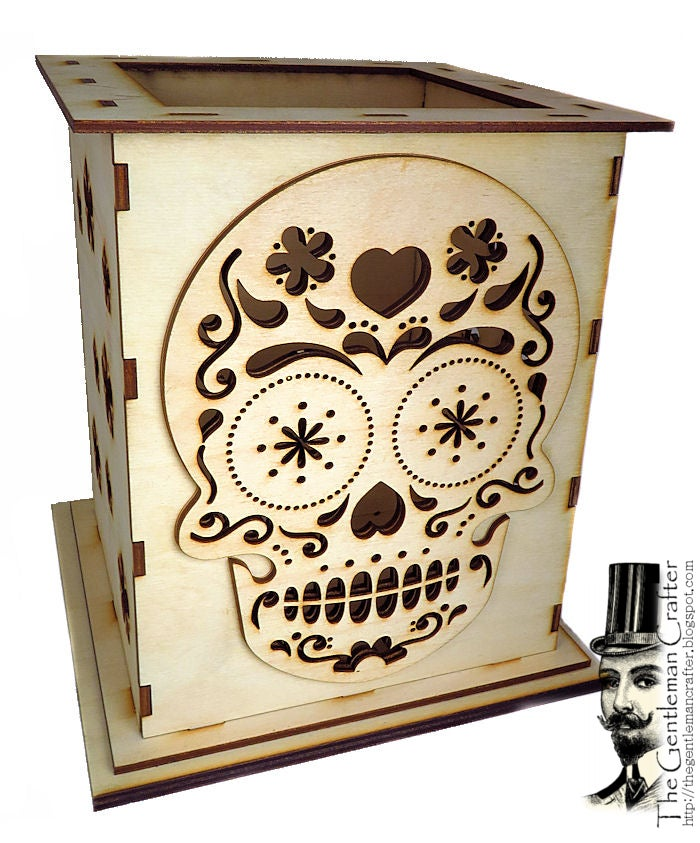 Image of Sugar Skull Lantern Wood Kit