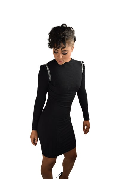 Image of Black ribbed fitted long sleeve dress.