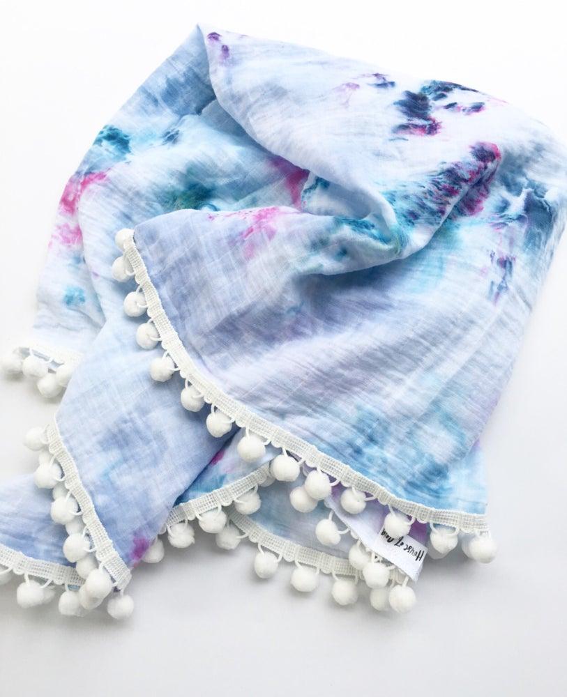 Image of Organic Cotton muslin pom pom swaddle blanket