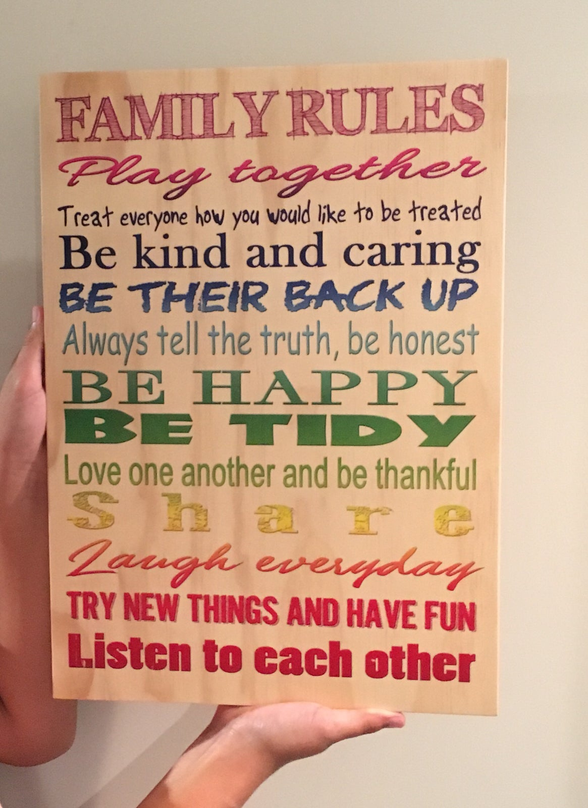 Image of Family Rules A3 Plywood Print