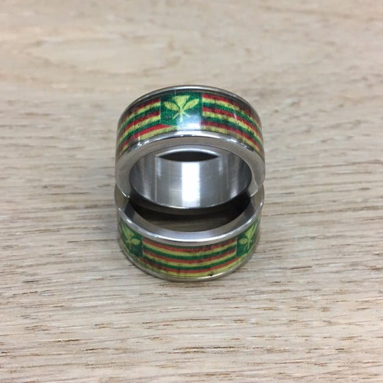 Image of Stainless Steel Kanaka Maoli Flag In-Lay Wedding Band