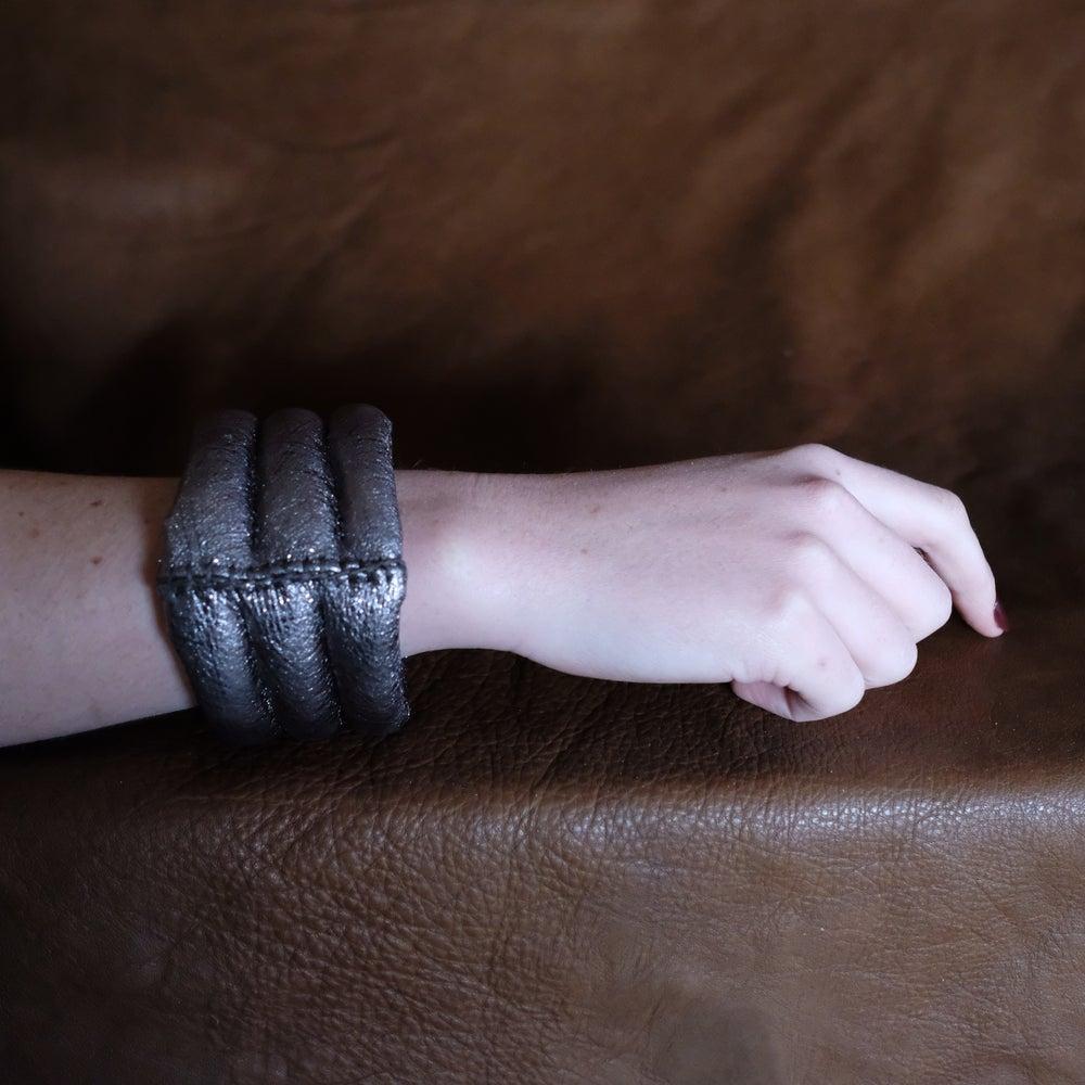 Image of 3L Bracelet in Gun Metal Grey Metallic Leather