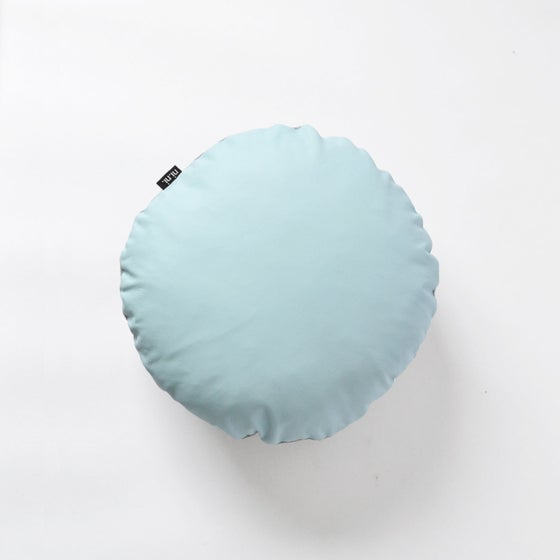 Image of NEW! Leather Roundie Cushion Cover - Baby Blue