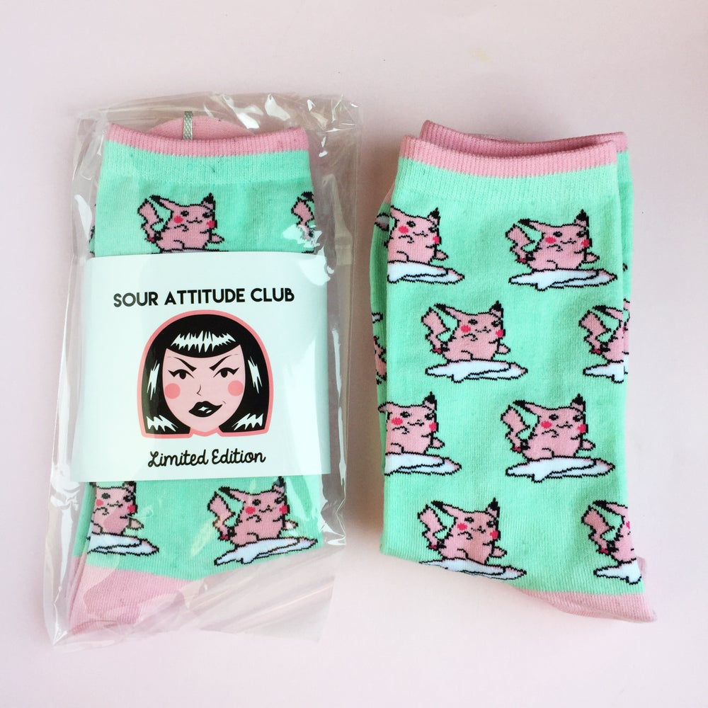 Image of Mint Socks - Small/Regular - Surfin' Pika