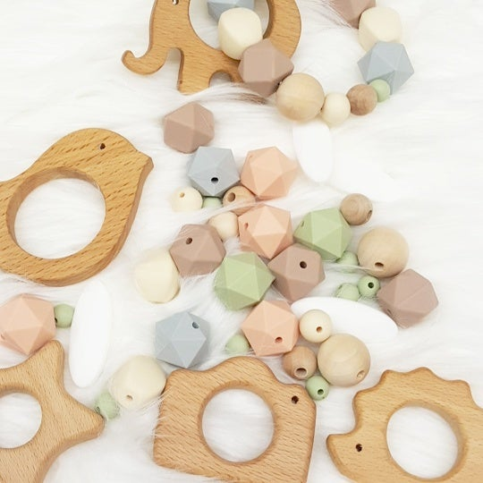 Image of Silicone and Wood Bead Teething Rattle- Elephant