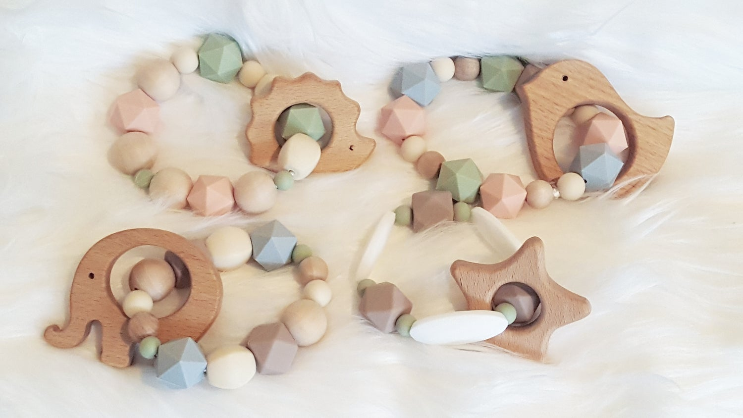 Image of Silicone and Wood Bead Teething Rattle- Star