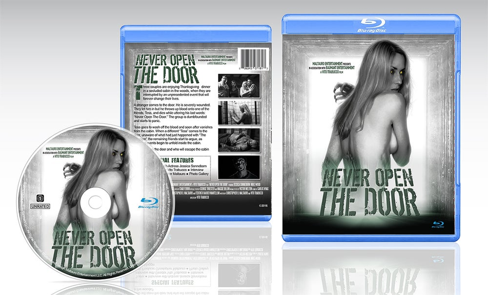 Image of Never Open The Door Blu-Ray (With Exclusive Movie Still signed by Lead Actress Jessica Sonneborn)
