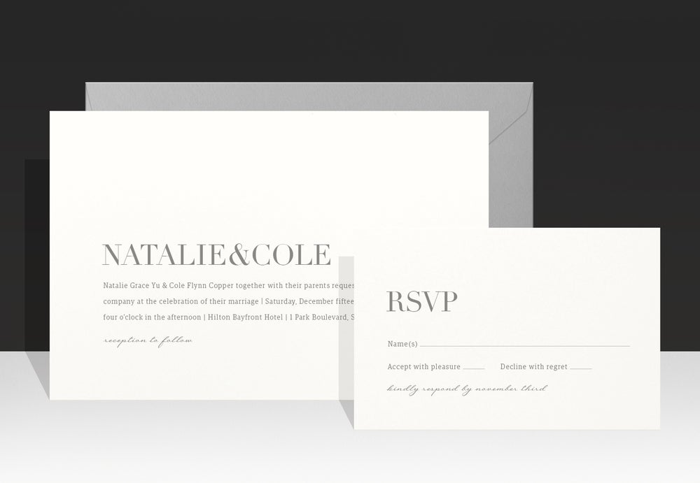 Image of Modern and Elegant - Grey Wedding Invitations - Natalie