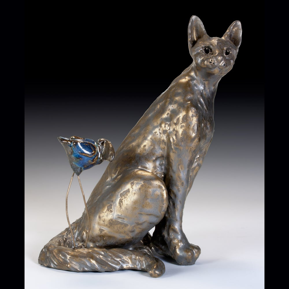 Image of Ceramic Cat Sculpture - Bella Cat & Big Blue Bird