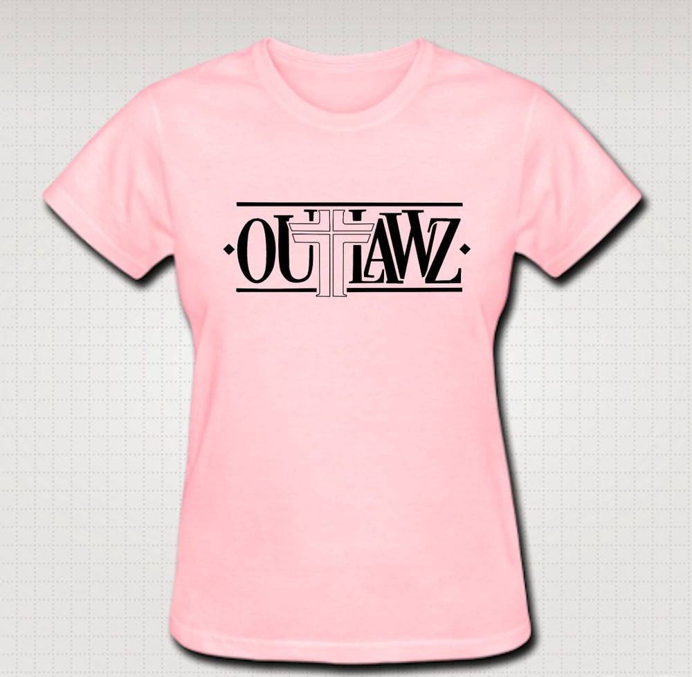 Image of Outlawz Logo Female Baby Tee- Comes in Black, White,Pink,Purple,Red- CLICK HERE TO SEE ALL COLORS