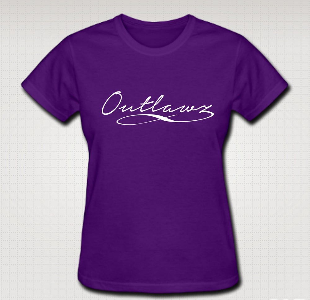 Image of Outlawz Signature Female Baby Tee- Comes in Black, White,Purple,Red- CLICK HERE TO SEE ALL COLORS