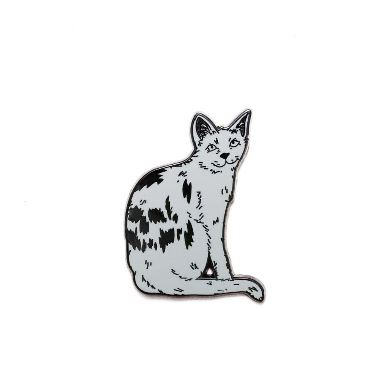 Image of Omen Cat cloisonné pin.