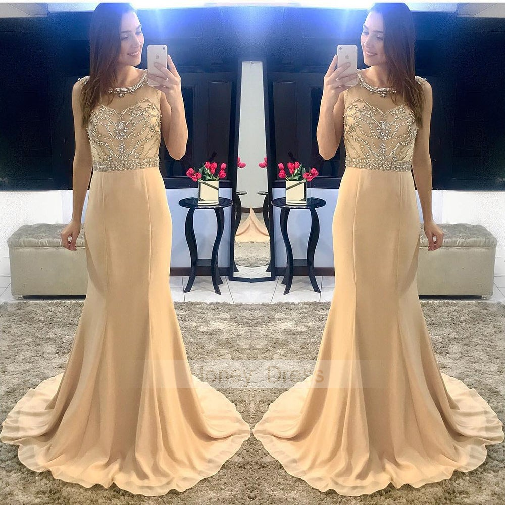 Image of Champagne Chiffon Mermiad Illusion Beaded Top Long Prom Gown, Party Drsss With Open Back