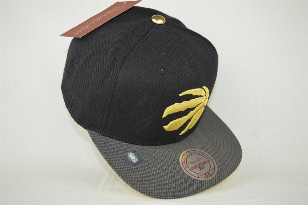 Image of Toronto Raptors Black Grey & Gold Mitchell & Ness Snapback
