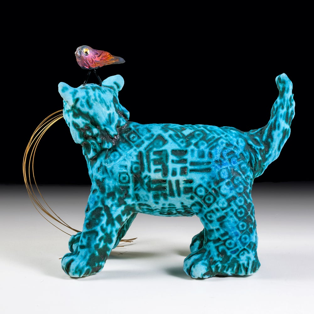 Image of Ceramic Cat Sculpture - Harold's Headache