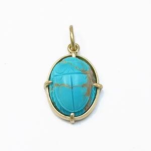 Image of Turquoise Scarab Pendant Charm 18k