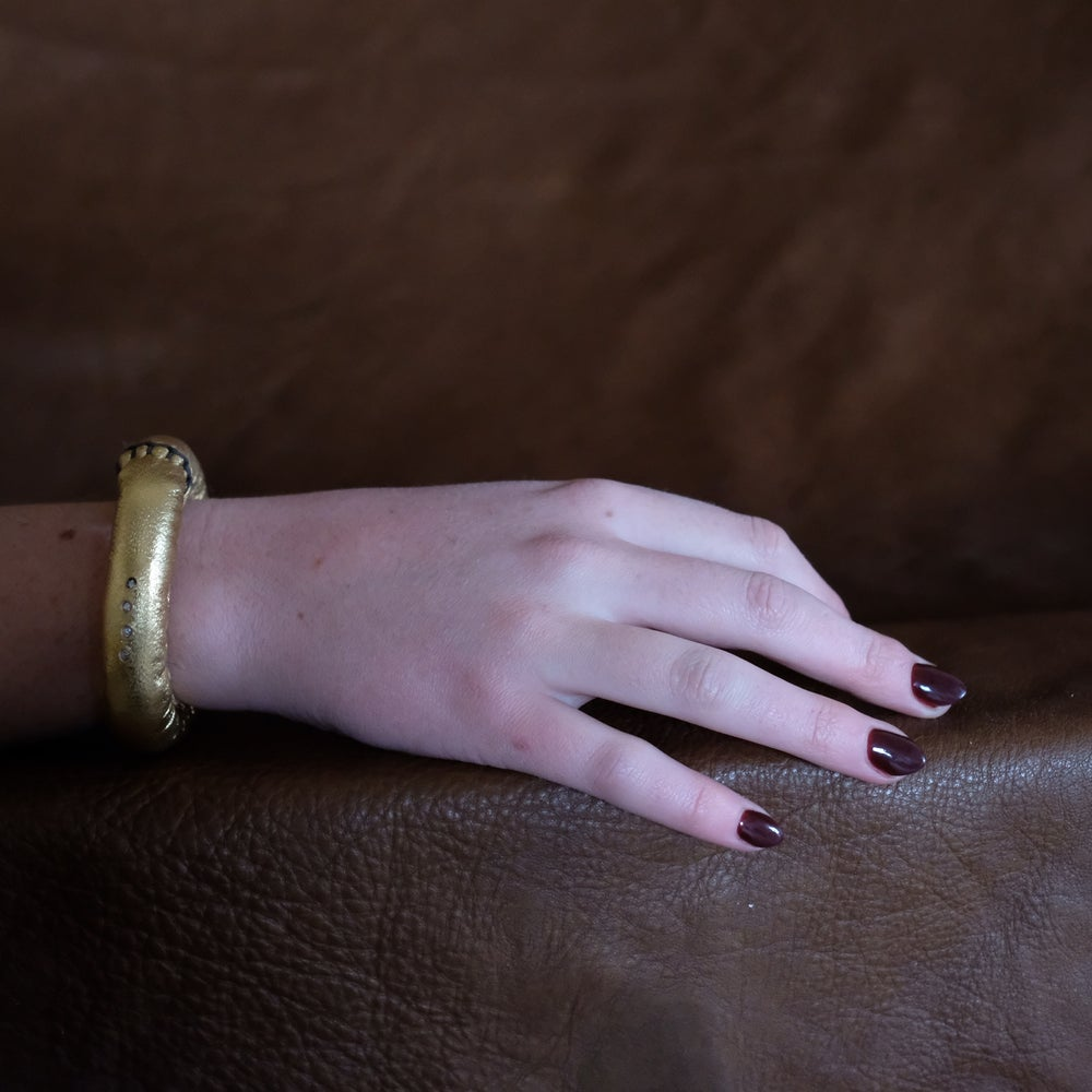 Image of S Bracelet in Gold Leather