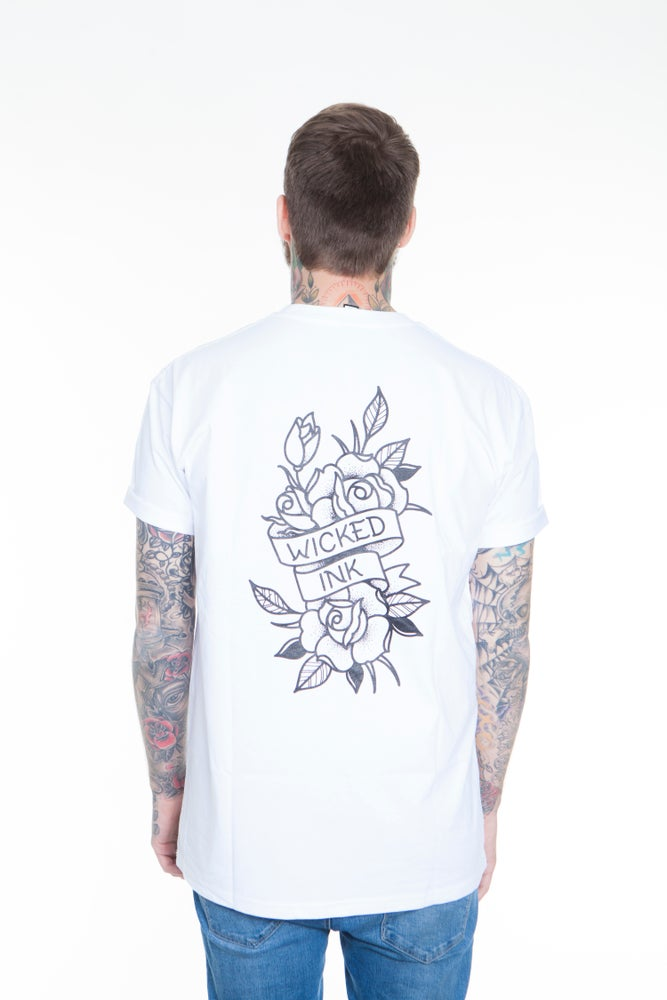 Image of Mens White New School Rose T- Shirt