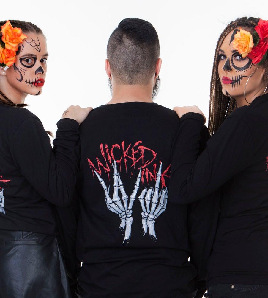 Image of Mens Black WI Skeleton Hands L/Sleeve
