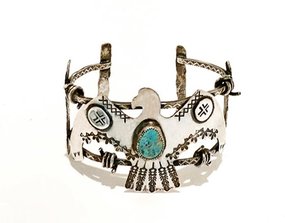Image of Sterling Silver Vulture Barbed Wire Cuff
