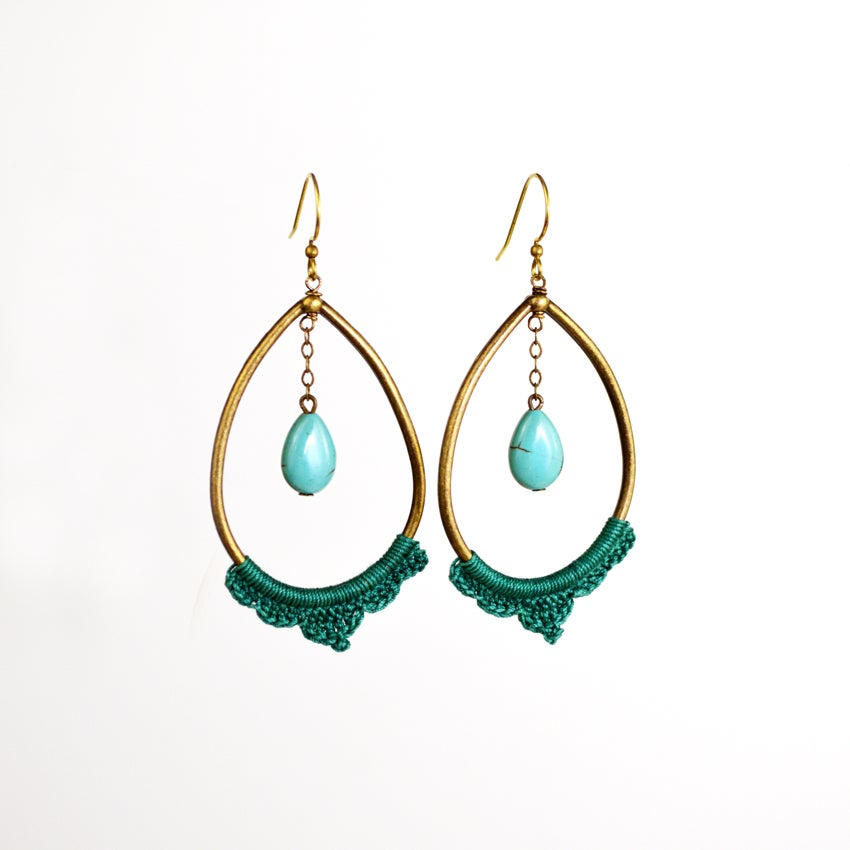 Image of Large Teardrop Swag Hoops
