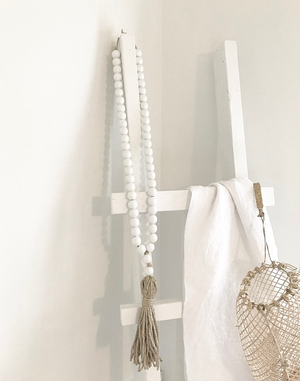 Image of Long Tassel Love Bead - White Beads with Natural Tassel