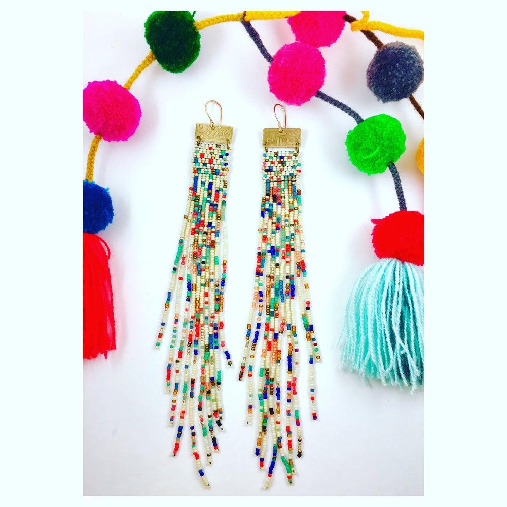 """Image of """"Pom Pom"""" Beaded Earrings"""