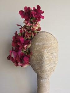 Image of Burgundy and cream headpiece