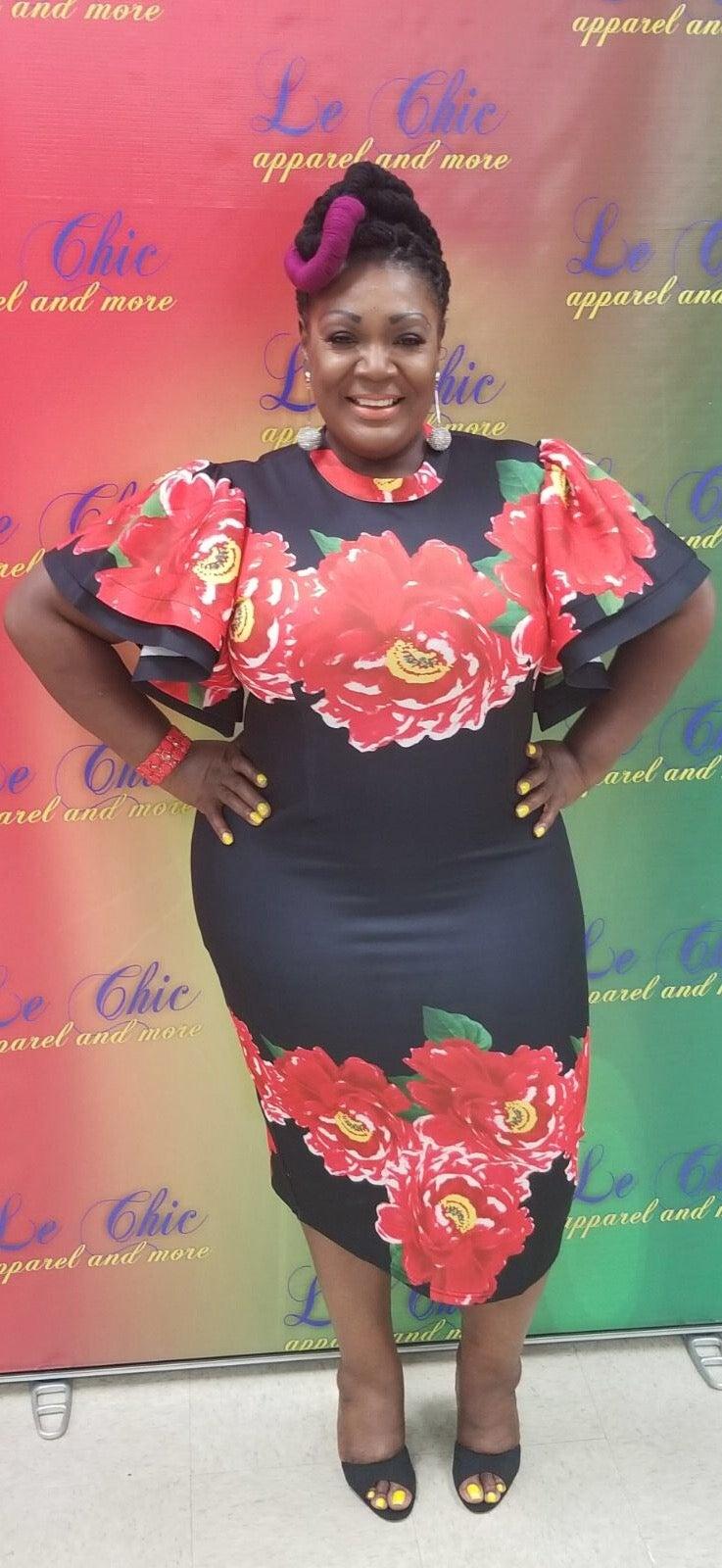 Image of Black roses dress
