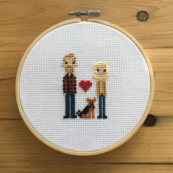 Image of Customized Family Cross-Stitch