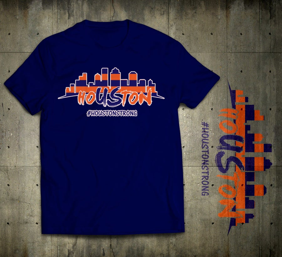 Image of hoUSton Strong Unisex Tee Orange & Navy