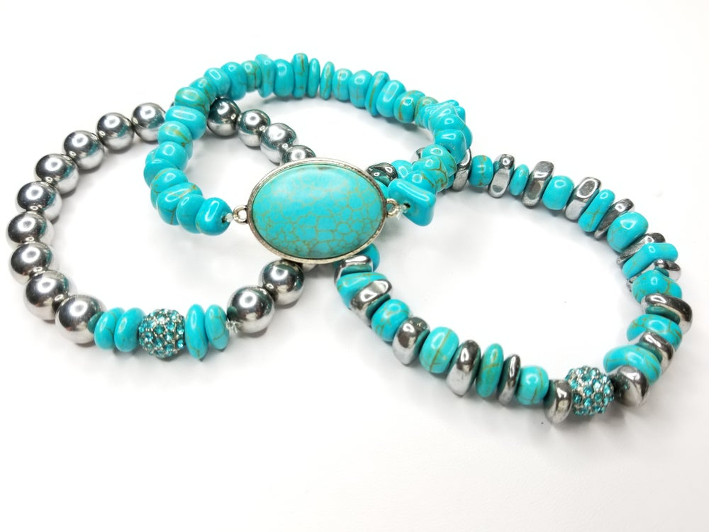 Image of Turquoise Chips & Hematite Gemstone 3 Piece Bracelet Set