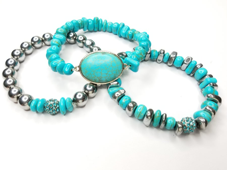 Image of Turquoise Chips & Hematite Gemstone 3 Piece Bracelet Set