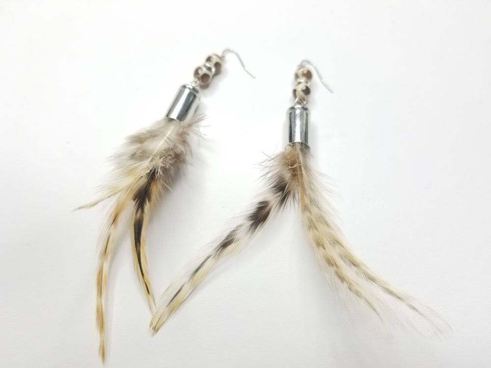 Image of Agate Gemstone & Feather Earrings
