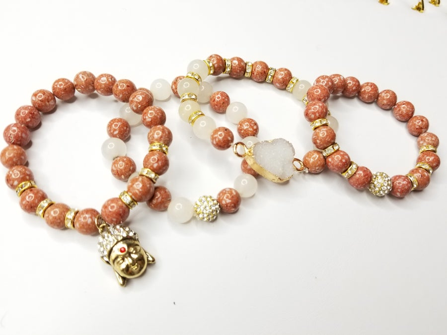 Image of Mauve' Jasper Gemstone 4 Piece Bracelet Set