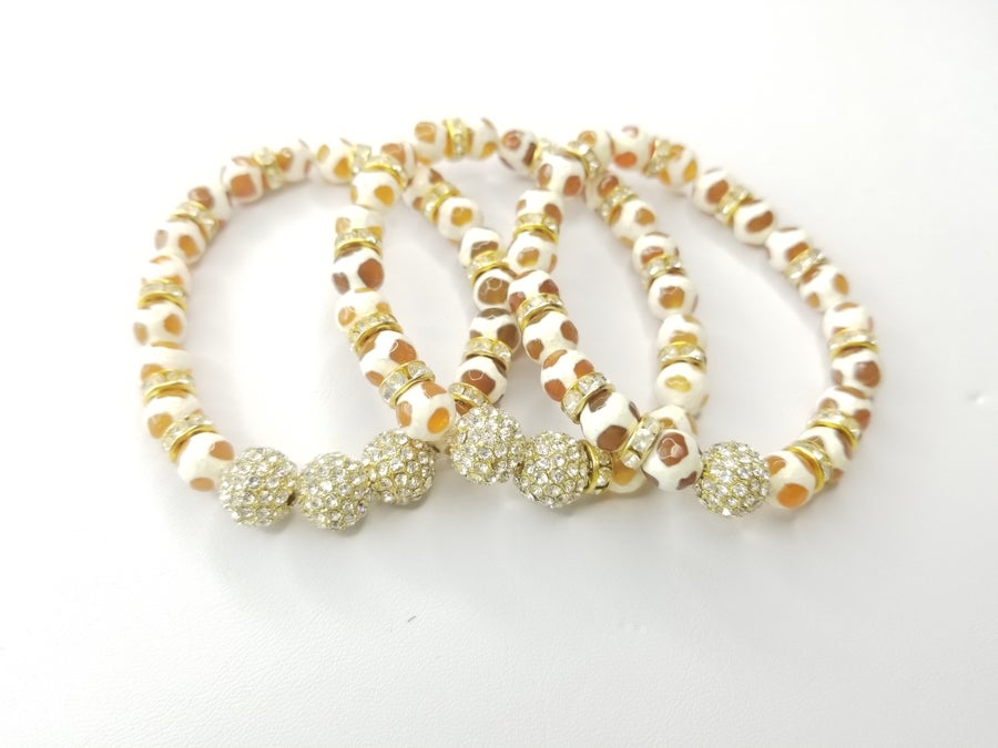 Image of Cream Spider Agate & Pave' Rhinestone 3 Piece Set