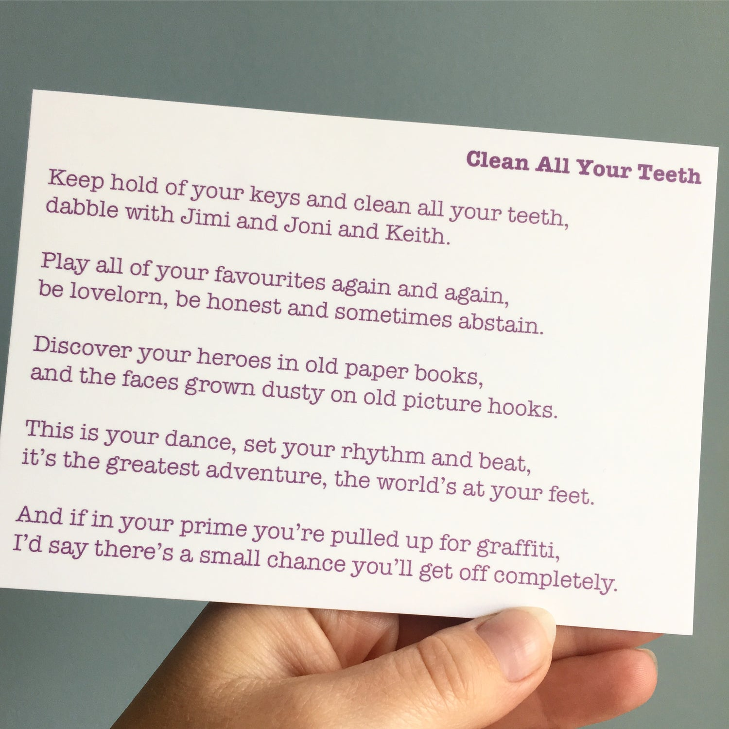 Image of Clean All Your Teeth - Poem Postcard (Small - A6 size)