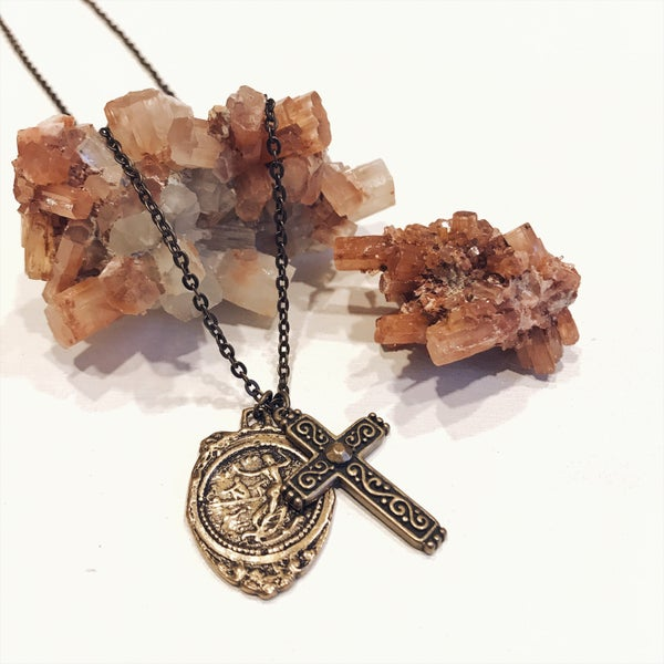 Image of Double Pendant with Antique Cross