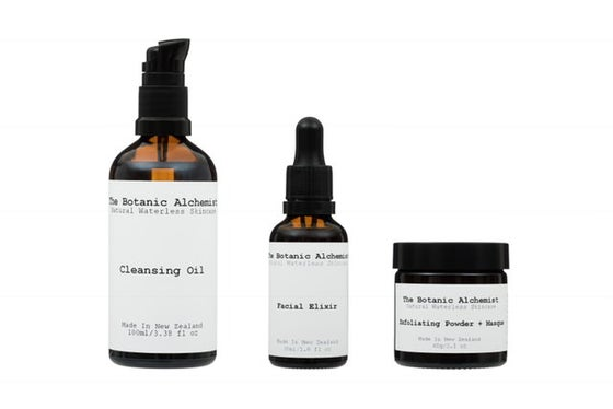 Product Collection Facial Elixir Cleansing Oil Exfoliating Powder and Masque }}