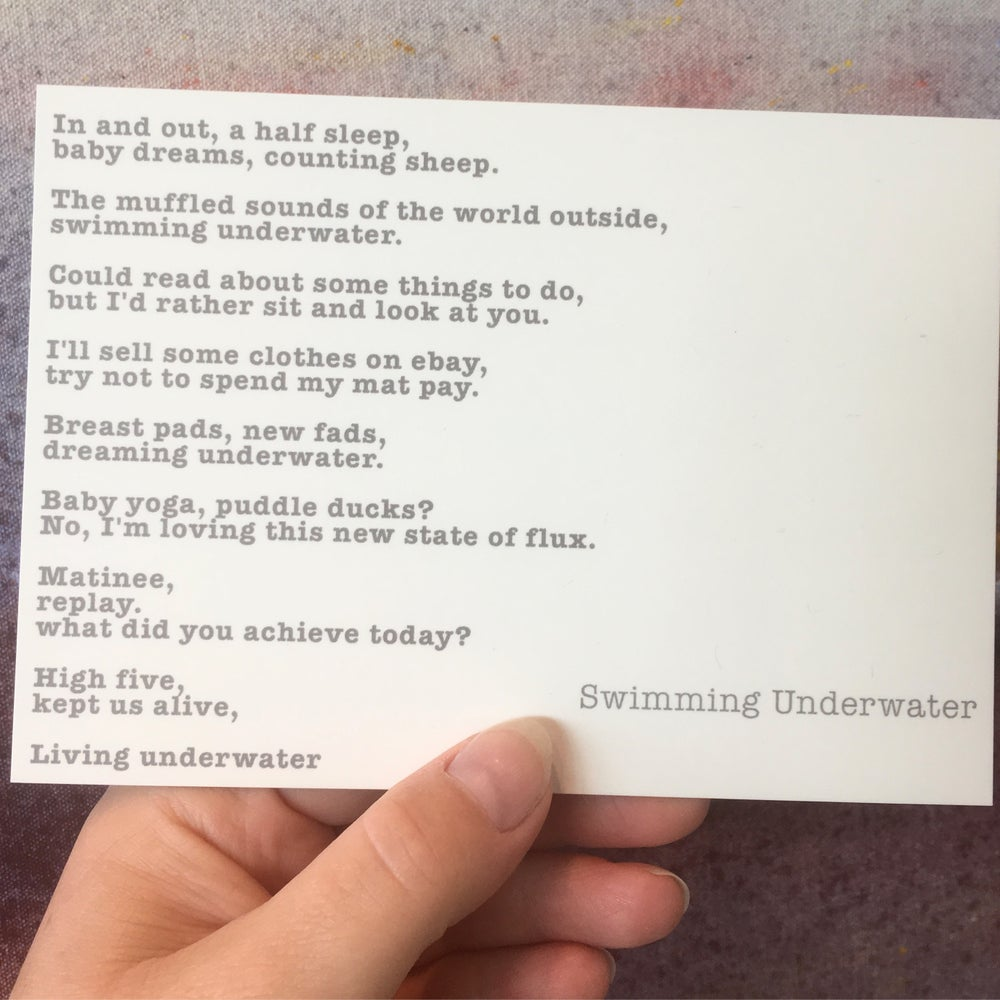 Image of Swimming Underwater - Poem Postcard (Small - A6 size)