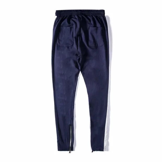 Image of Blue White Striped Zip Up Jogger