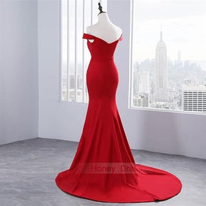 Image of Elegant Red Off The Shoulder Sweetheart Mermaid Long Evening Gown With Sweep Train