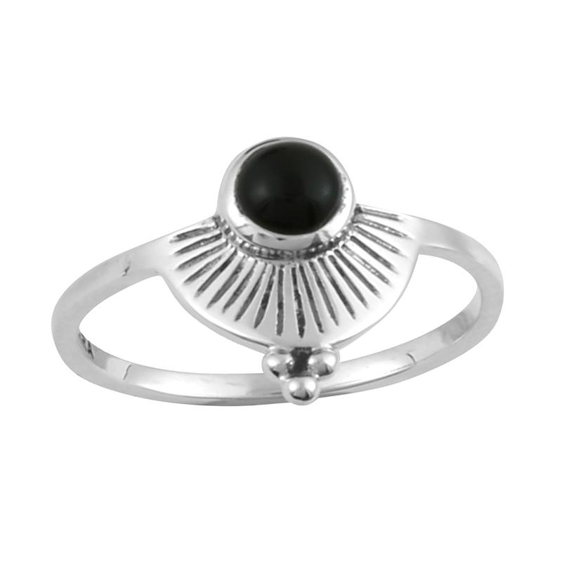 Image of Sterling Silver & Black Onyx Dara Shield Ring