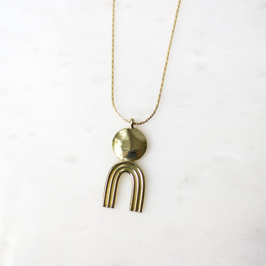 Image of Brass Totem Pendant Necklace