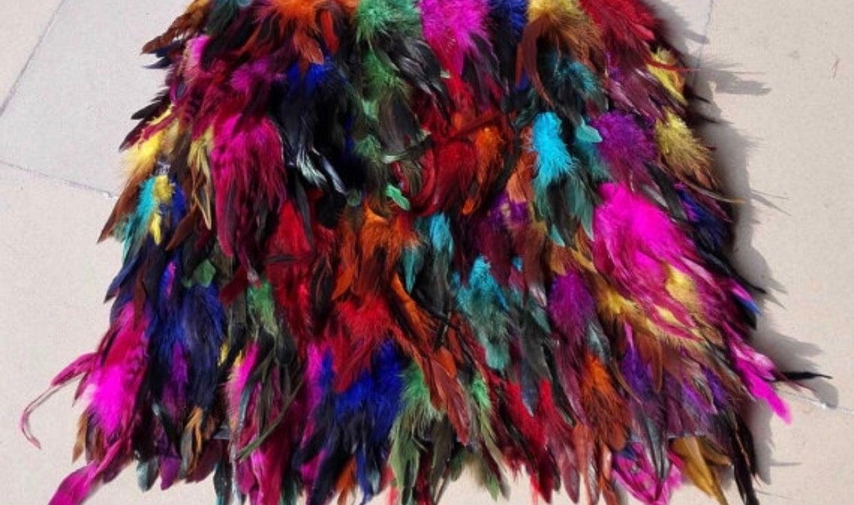 LAVASHTI — Multi colored feather skirt