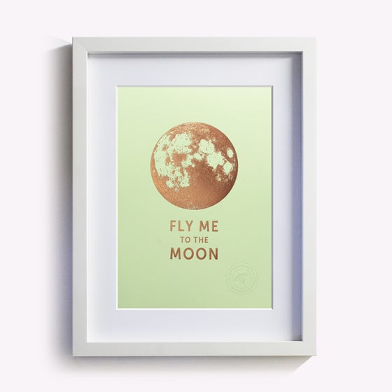 "Image of AFFICHETTE ""FLY ME TO THE MOON"" VERT PISTACHE"